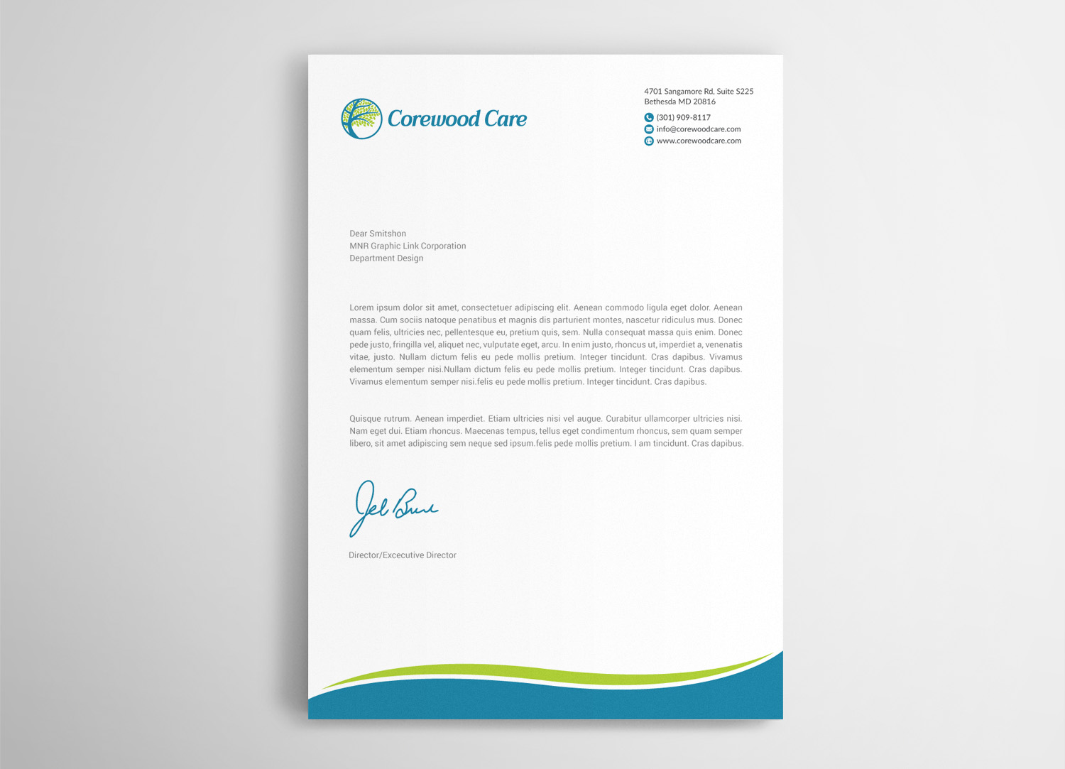 elegant serious health care letterhead design for a company by