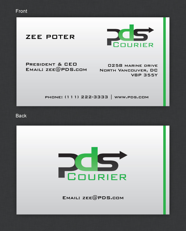 Masculine, Serious, Business Business Card Design for PDS Courier by ...