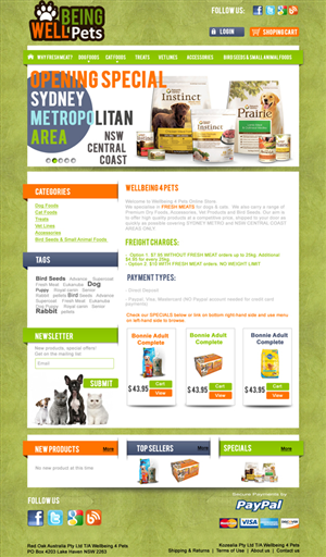 Web Design job – Online Pet food and accessories  – Winning design by kalista.design