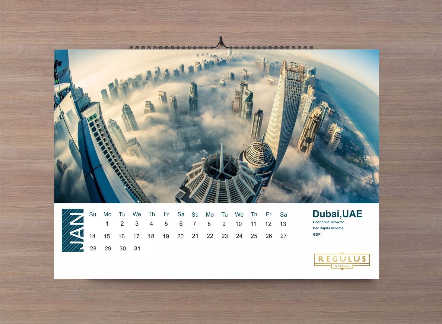 Bold Modern Financial Service Calendar Design For Regulus Capital