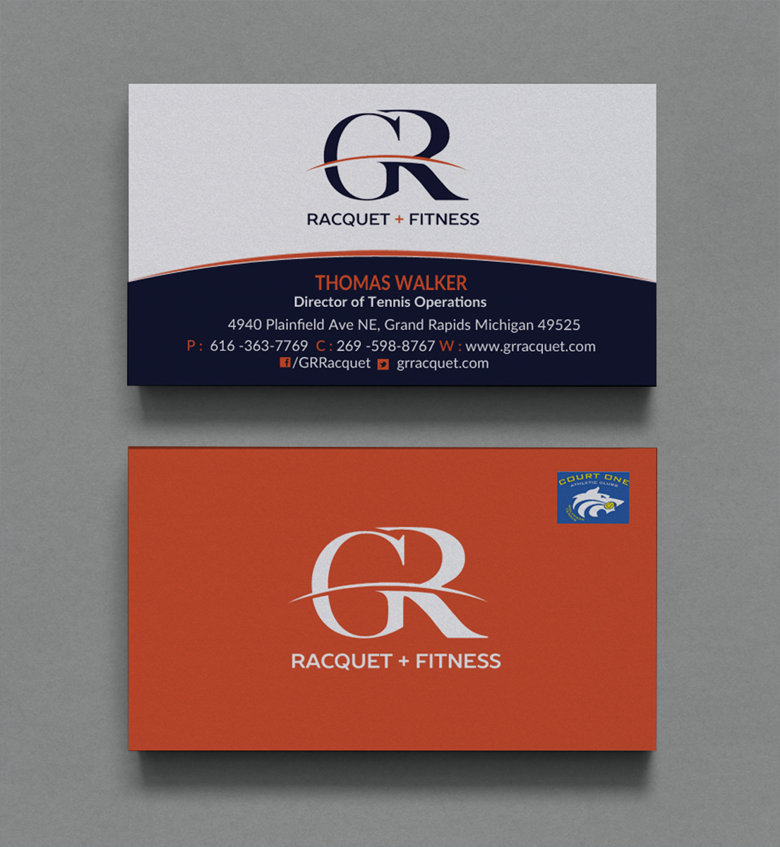 Bold Modern Business Business Card Design For Grand Rapids Racquet