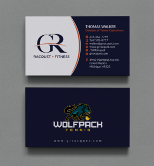 Bold modern business card design job business card brief for grand business card design job design a new tennis and athletic club business cards desired colourmoves