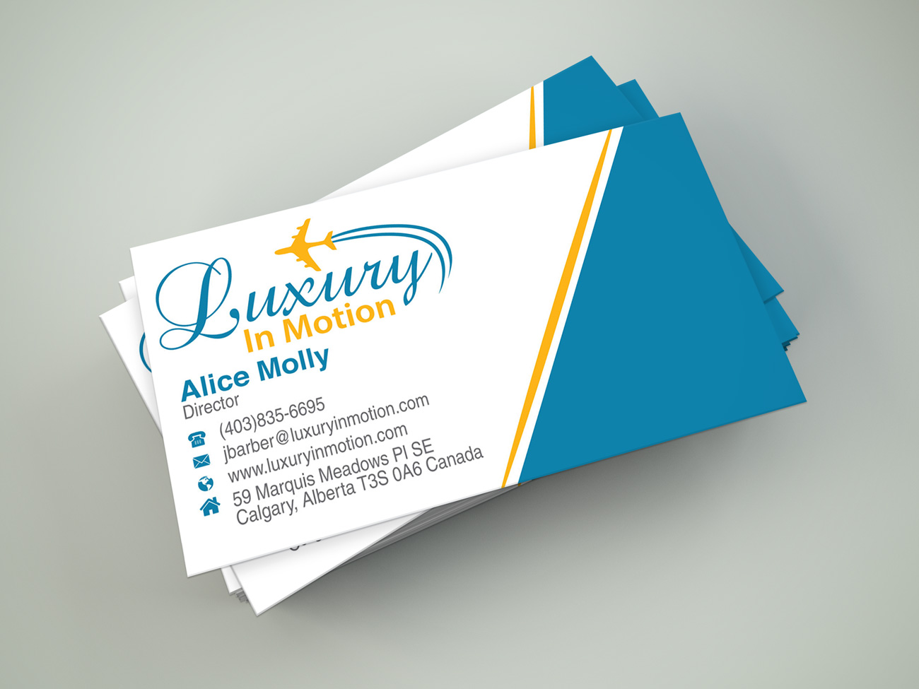Upmarket elegant travel business card design for luxury in motion business card design by black stallions impressive solutions for this project design 17259287 reheart Gallery