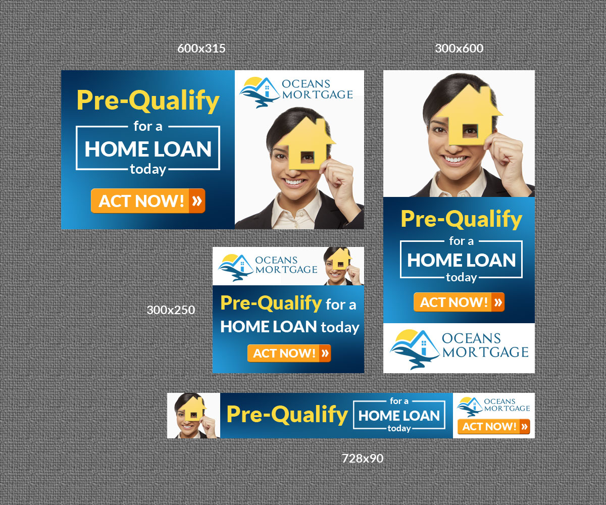 bold playful mortgage lender banner ad design for a company by