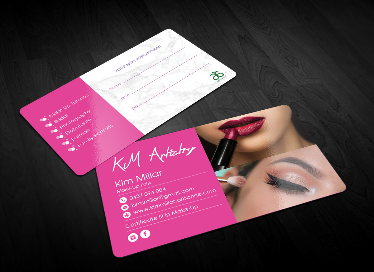 Traditional personable makeup business card design for a company business card design by sandaruwan for this project design 17347110 reheart Image collections