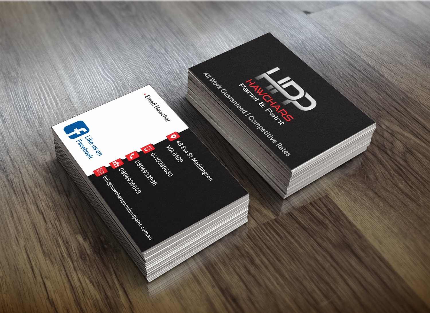 Bold serious business card design for hawchars panel paint pty bold serious business card design for company in australia design 17380424 reheart Gallery
