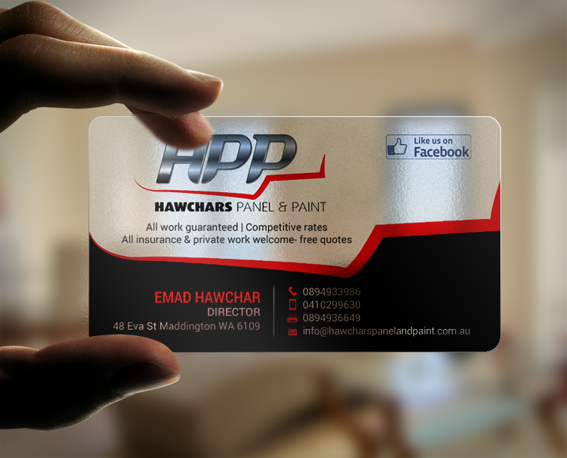 Bold, Serious, Automotive Business Card Design for HAWCHARS PANEL ...
