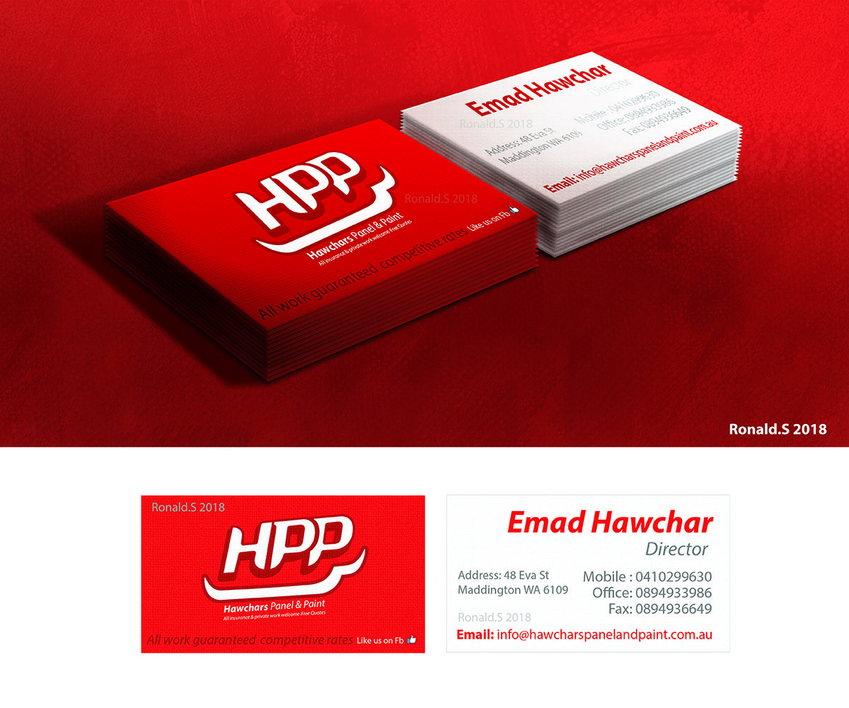 Bold Serious Automotive Business Card Design For Hawchars Panel