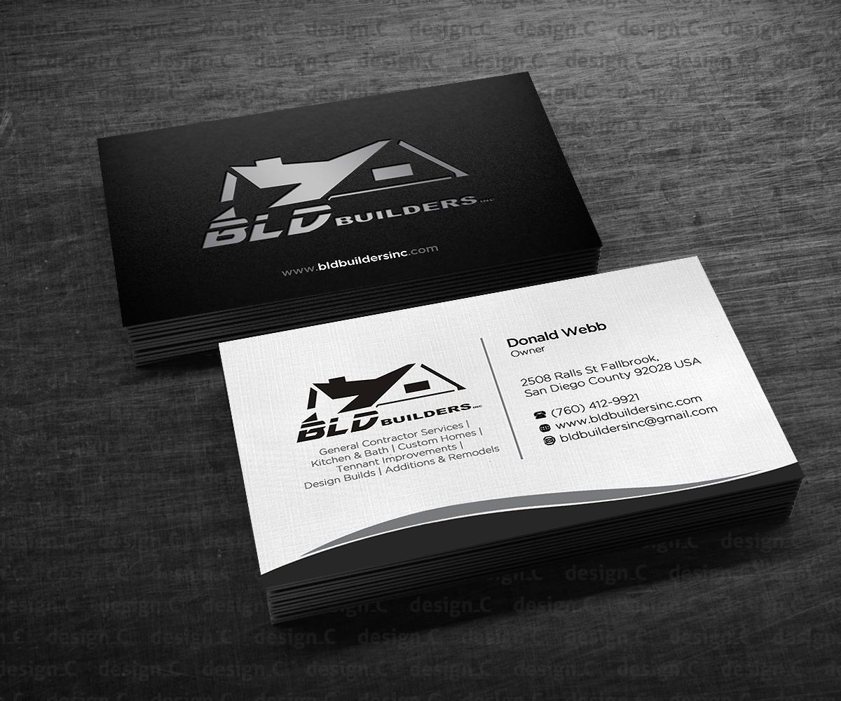 Elegant playful business business card design for bld builders business card design by designers hub for bld builders inc design 17404488 reheart Image collections
