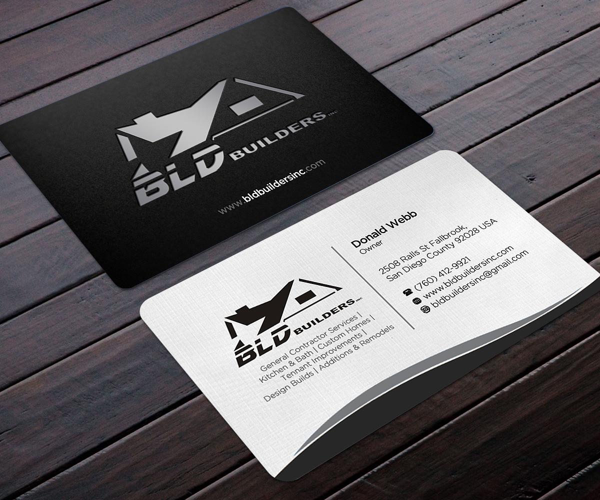 Elegant playful business business card design for bld builders business card design by designers hub for bld builders inc design 17404903 reheart Image collections