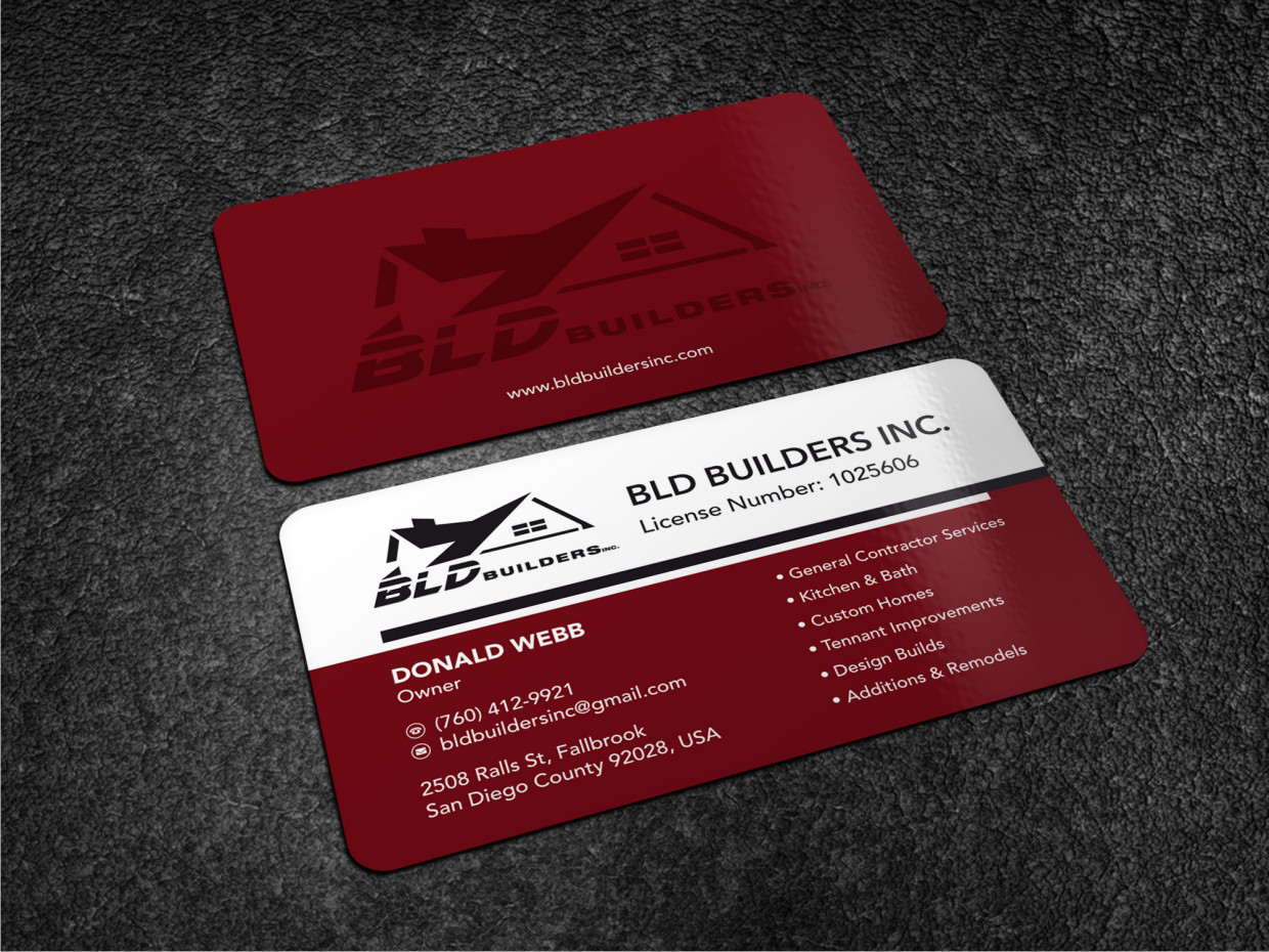 Elegant playful business business card design for bld builders business card design by atvento graphics for bld builders inc design 17396912 reheart Image collections