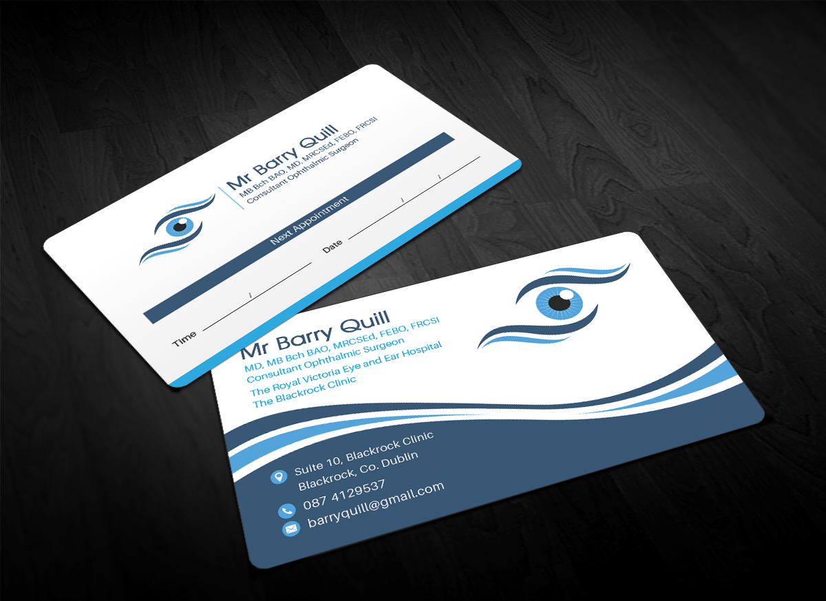 Elegant serious business card design for barry quill by business card design by sandaruwan for business card and logo design for new eye surgeon reheart Image collections