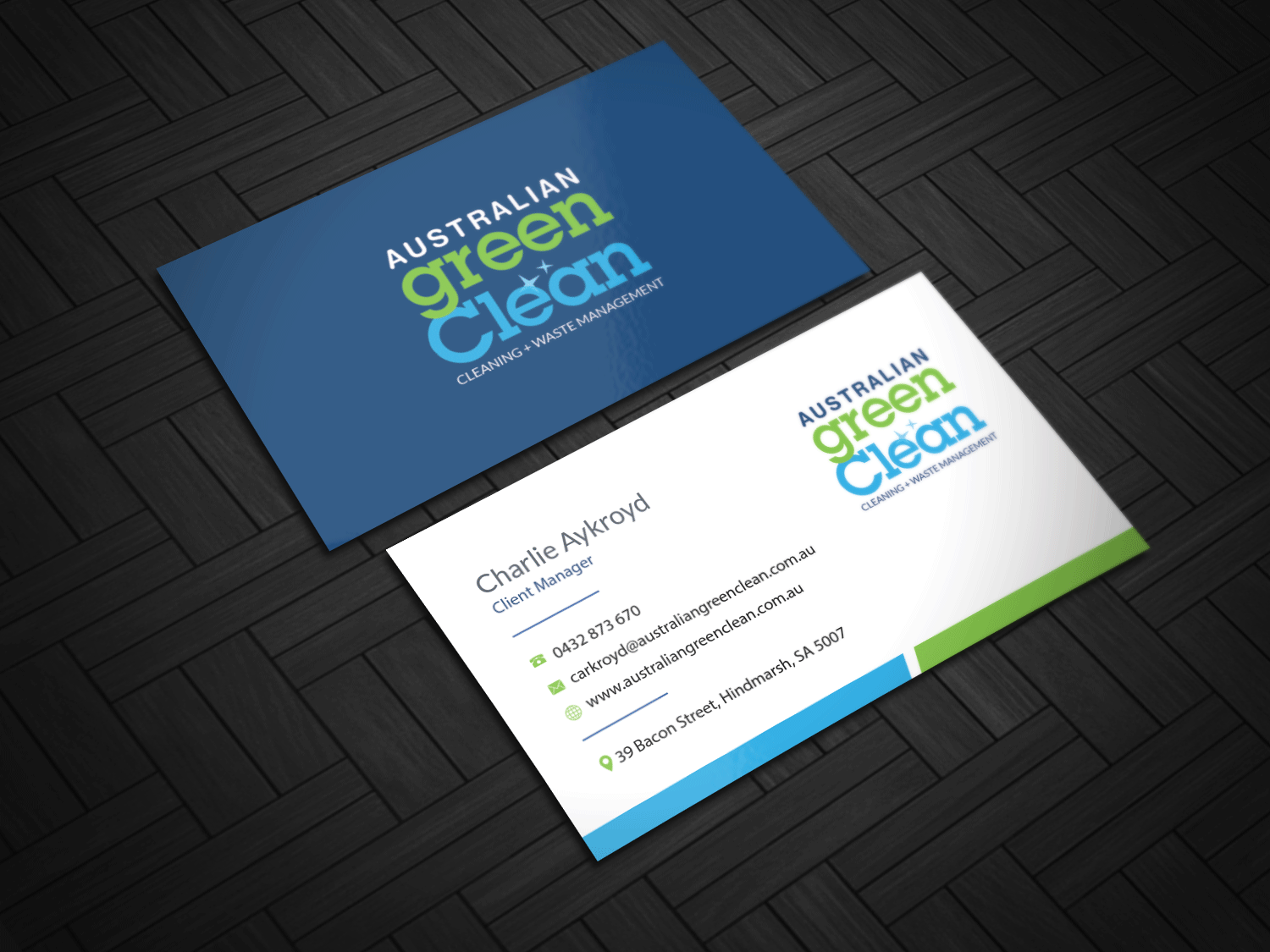 Elegant playful business card design for deb wakefield by riz business card design by riz for australian green clean business card design 17475125 reheart Gallery