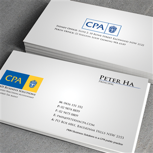 Business Card design job Business Card brief for Peter Ha
