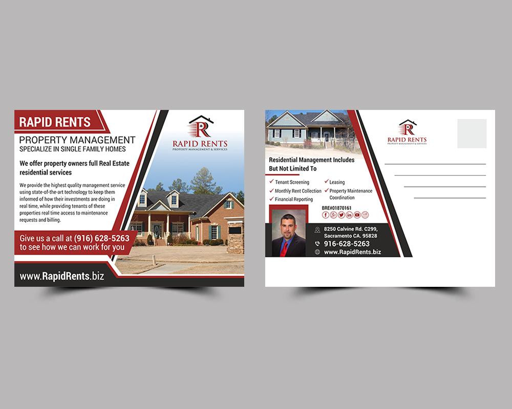 bold  modern  property management postcard design for