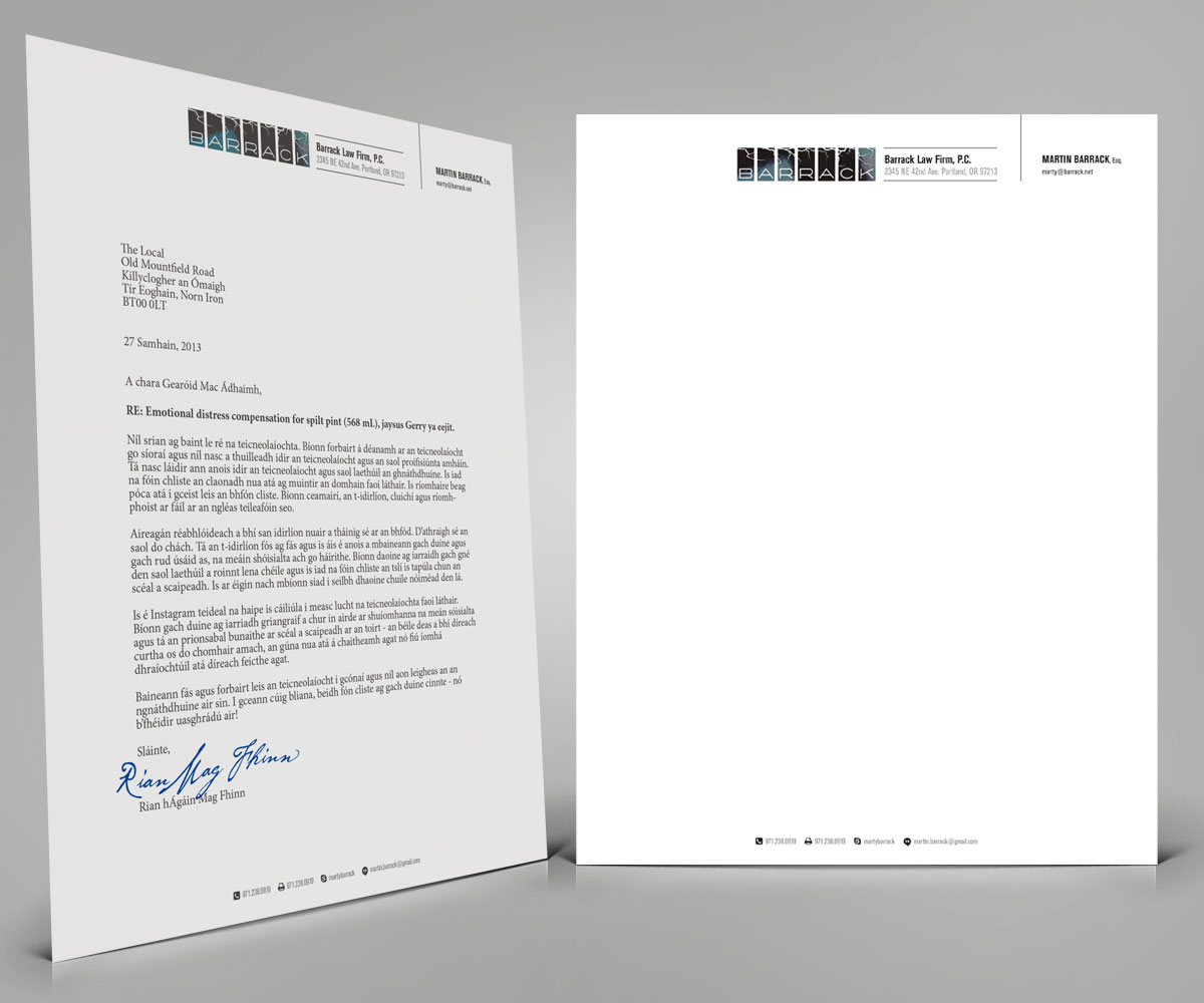 Bold, Serious Letterhead Design for Martin Barrack by Cheeky ...