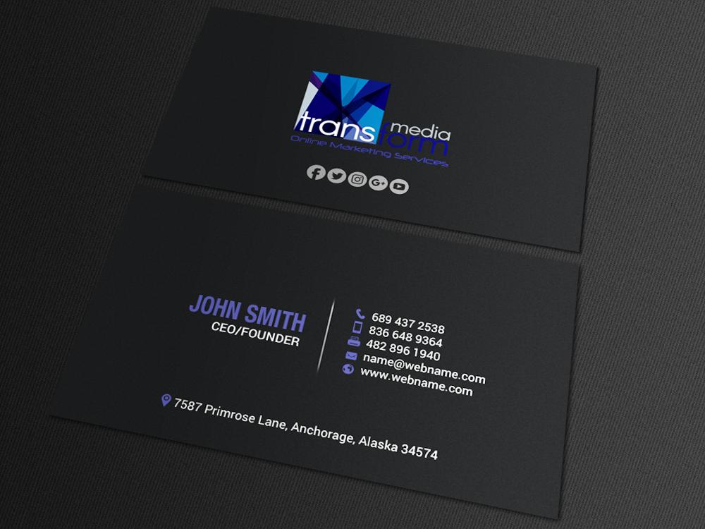 Elegant Playful Business Card Design For Transform Media Ug