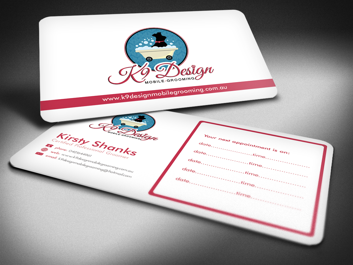 Bold, Modern Business Card Design for K9 Design Mobile Grooming by ...