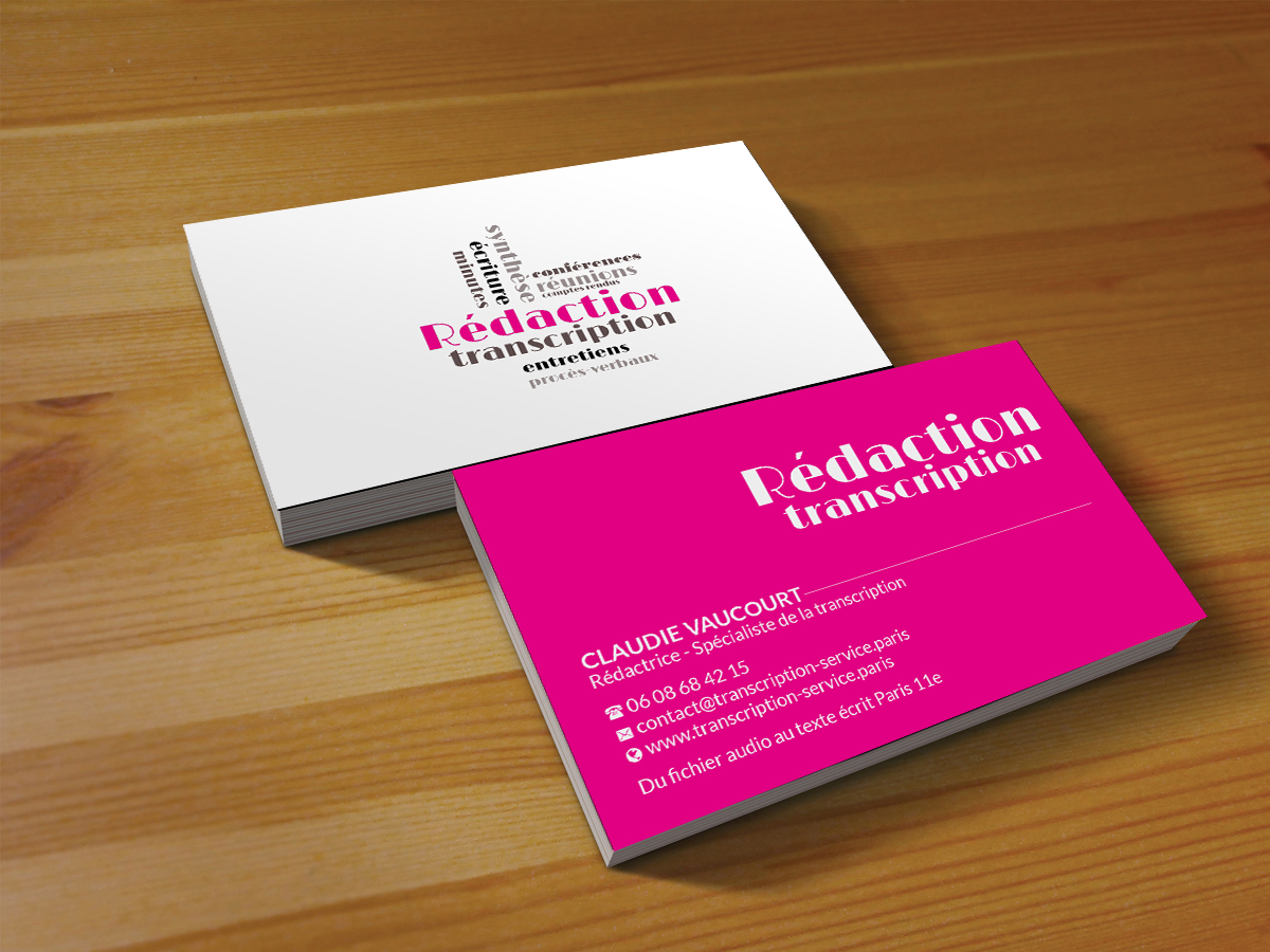 Elegant feminine business card design for rdactrice by creations business card design by creations box 2015 for spcialiste de la transcription audio cherche joli design colourmoves