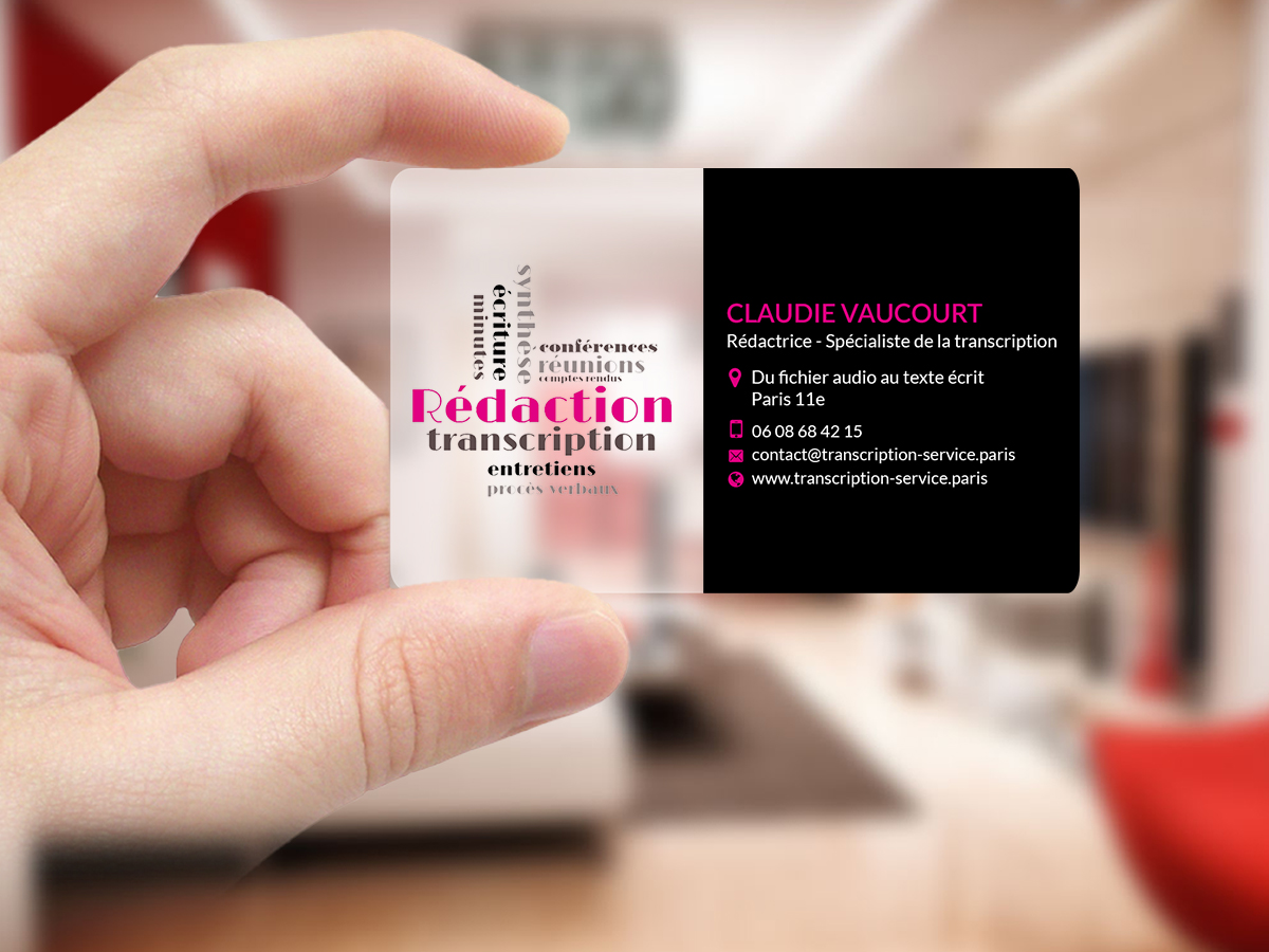 Elegant feminine audio business card design for rdactrice by business card design by creations box 2015 for rdactrice design 17576637 colourmoves