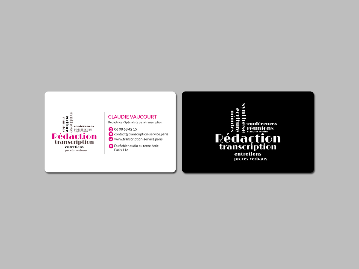 Elegant feminine audio business card design for rdactrice by business card design by creations box 2015 for rdactrice design 17576731 colourmoves