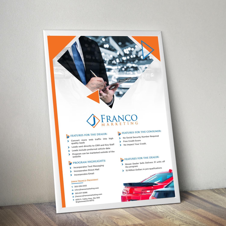 upmarket modern marketing flyer design for j franco marketing by