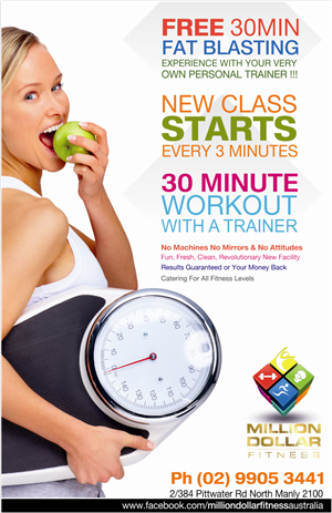 Flyer Design (Design #2769343) Submitted To Million Dollar Fitness Flyer  (Closed)