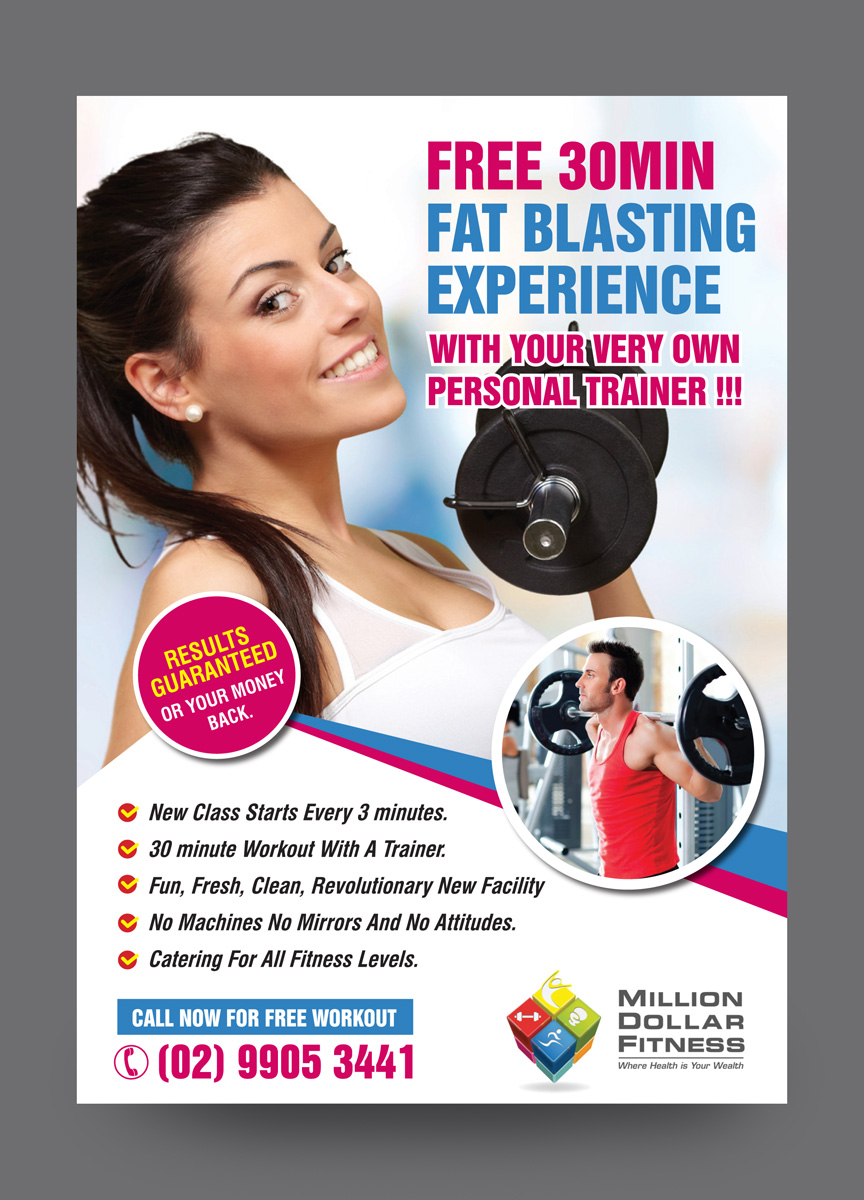 modern bold fitness flyer design for a company by rkailas design
