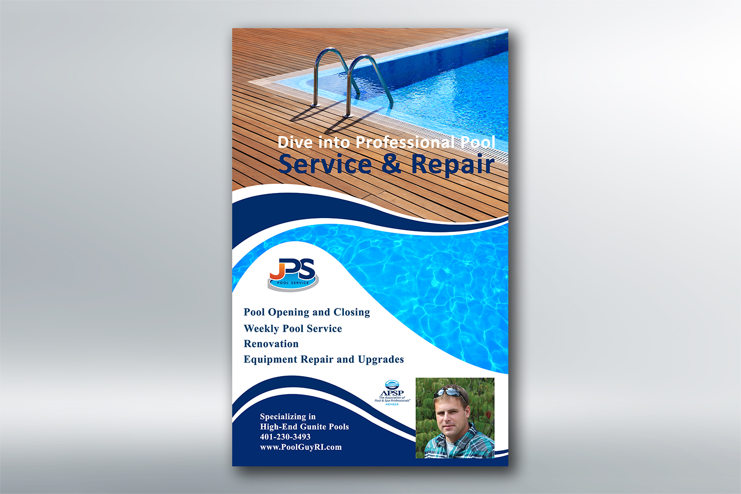 Elegant, Serious Newspaper Ad Design for JPS POOL SERVICE by