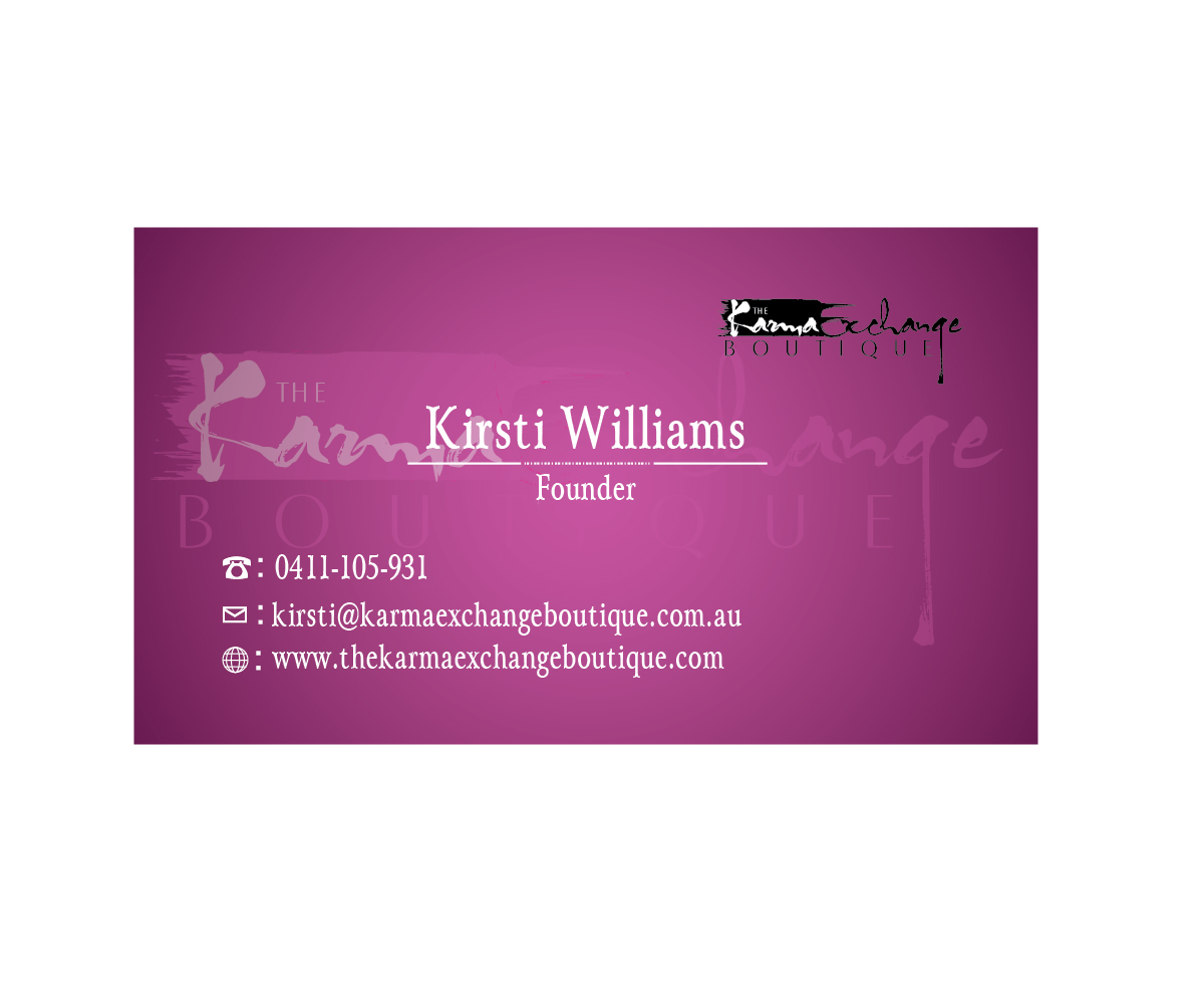 Conservative upmarket business card design for kirsti for Business card for clothing boutique