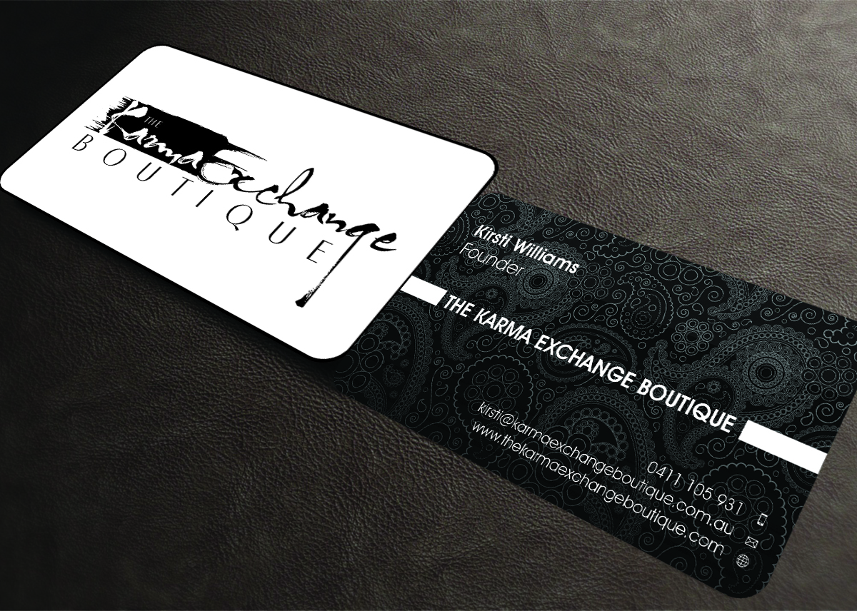 Conservative upmarket business card design for kirsti williams by business card design by aaron for the karma exchange boutique ecommerce boutique womens reheart Choice Image