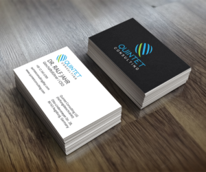 Elegant serious logo and business card design job logo and logo und visitenkarte design job quintet consulting logo and business cards for software company colourmoves