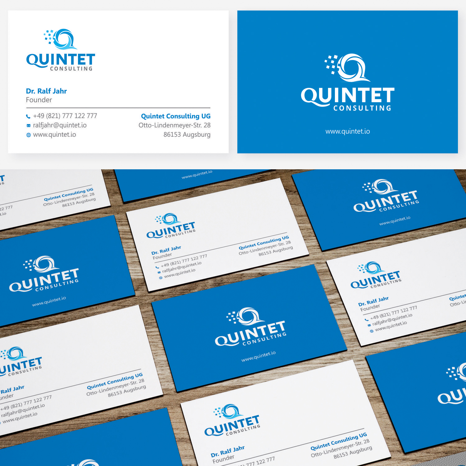 Elegant Serious Software Development Logo And Business Card Design For Quintet Consulting By Or16 Design 17705768