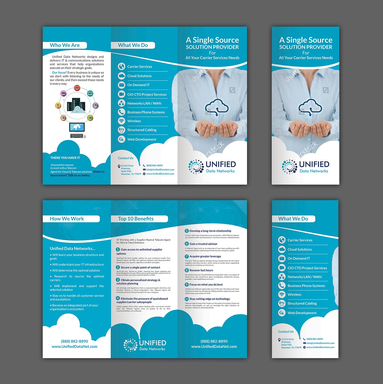 elegant playful information technology flyer design for unified