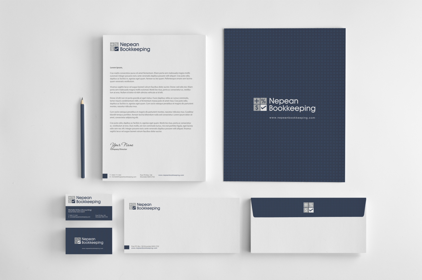 bold modern accounting stationery design for nepean bookkeeping by