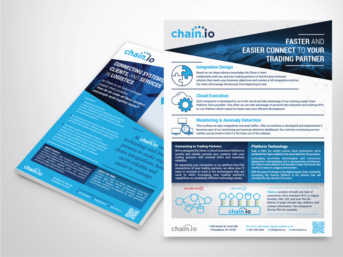 bold playful information technology flyer design for chain io by