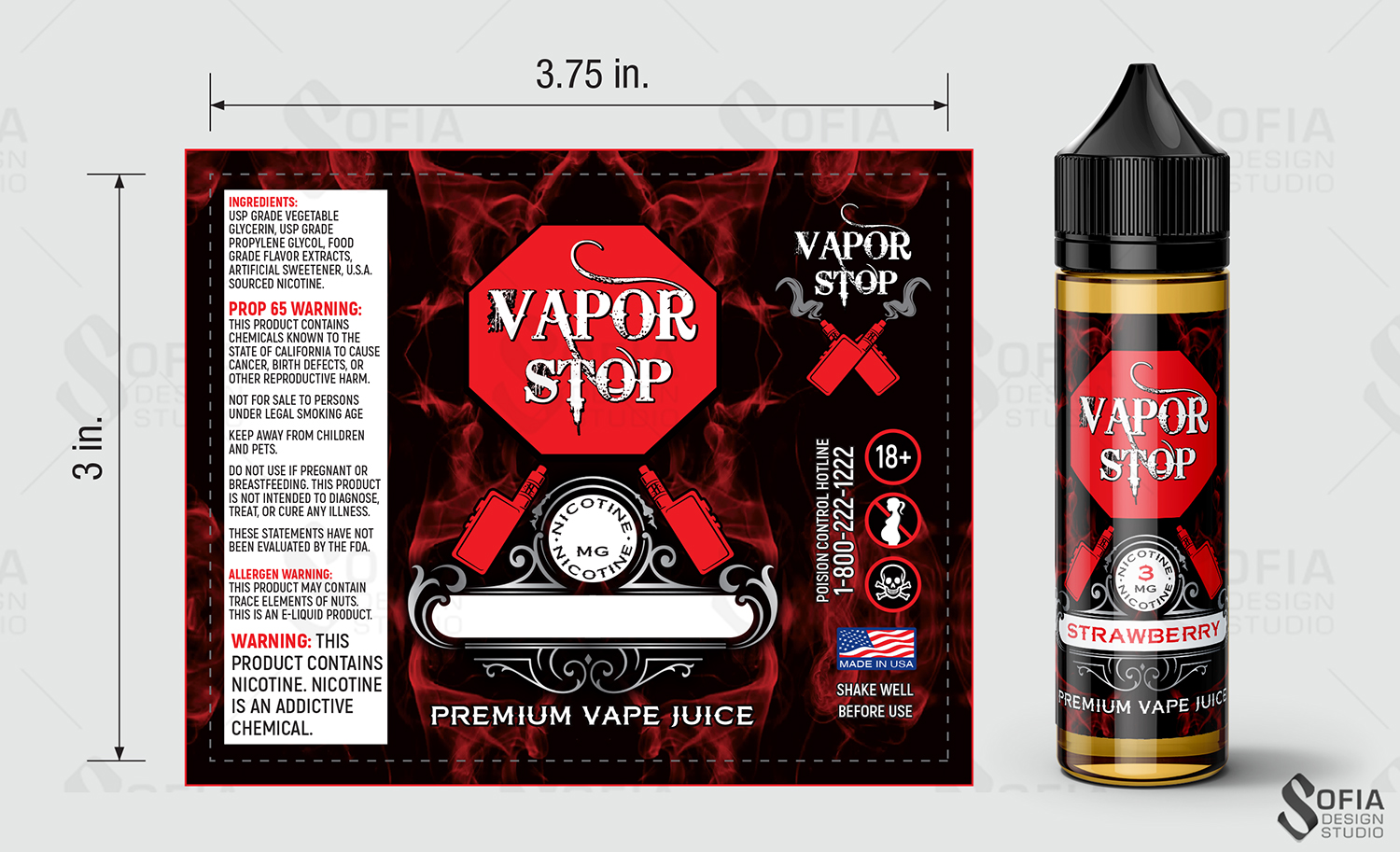 Elegant playful cigarette label design for vapor stop in united states design 17756673