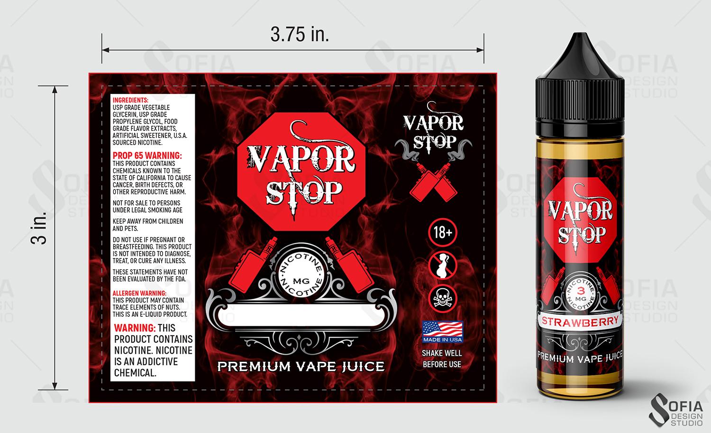 Elegant Playful Cigarette Label Design For Vapor Stop In United States