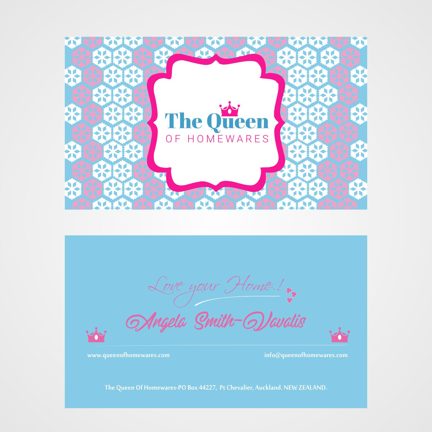 Business Card Design By Priyal For Queen Of Homewares