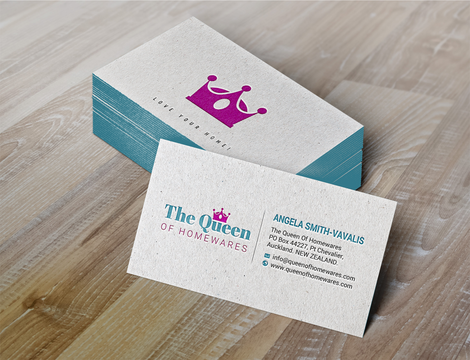 Upmarket bold business card design for queen of homewares by business card design by chandrayaaneative for the queen of homewares is an online store reheart Gallery