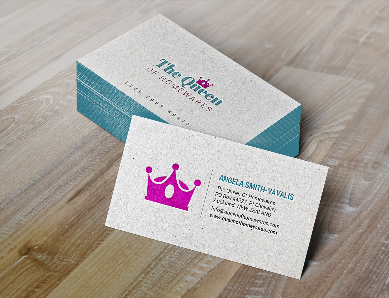 Upmarket bold business business card design for queen of homewares business card design by chandrayaaneative for queen of homewares design 17688137 reheart Image collections