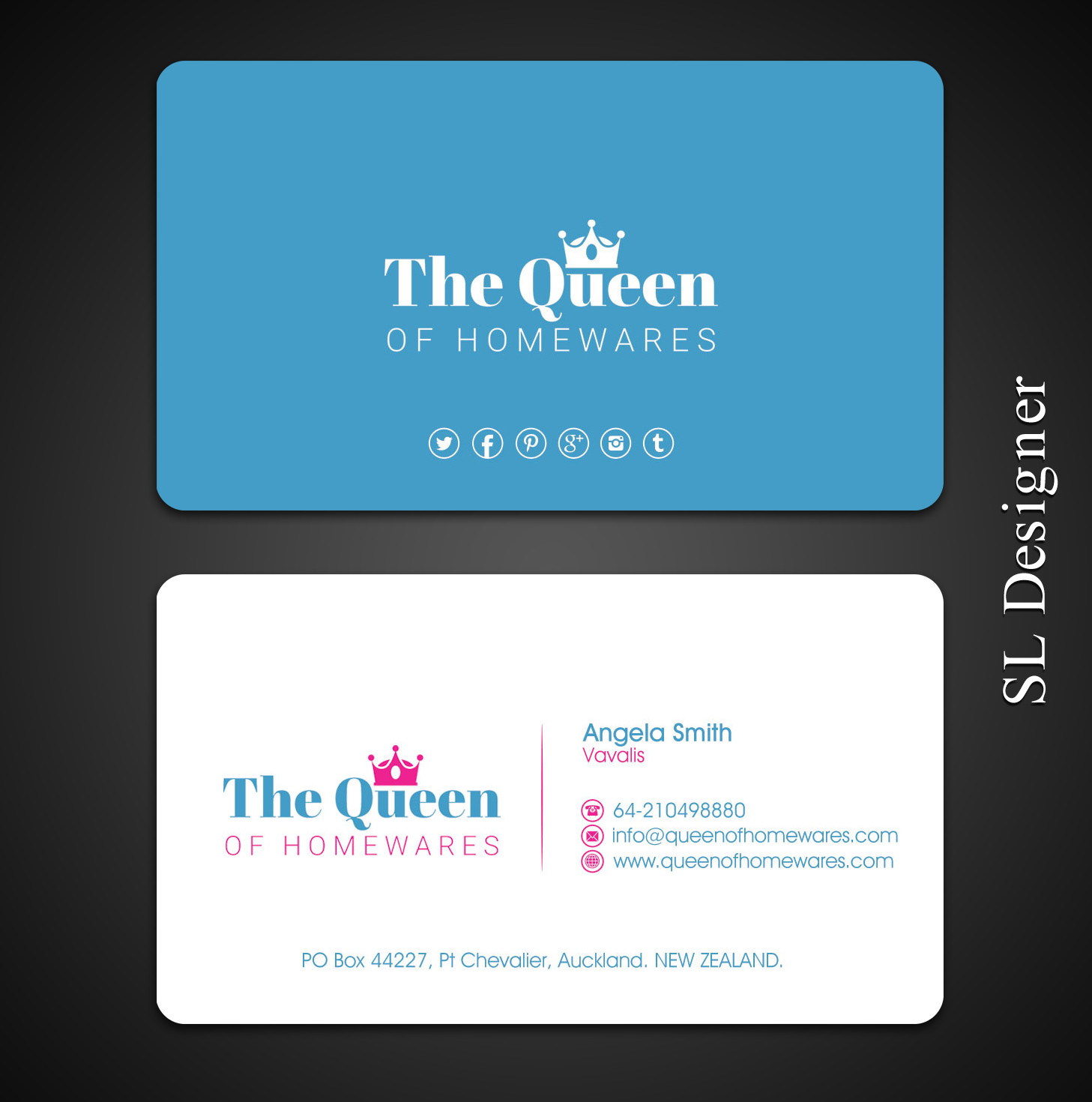 Upmarket bold business business card design for queen of homewares business card design by sl designer for queen of homewares design 17689347 reheart Image collections