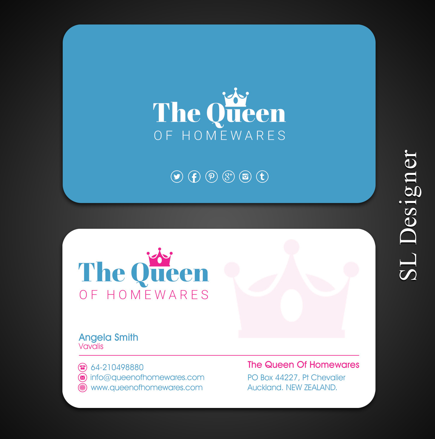 Upmarket bold business business card design for queen of homewares business card design by sl designer for queen of homewares design 17689352 reheart Image collections