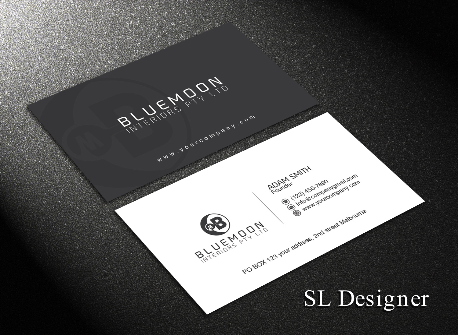 Business business card design for bluemoon interiors pty ltd by sl business business card design for bluemoon interiors pty ltd in australia design 17705239 reheart Choice Image