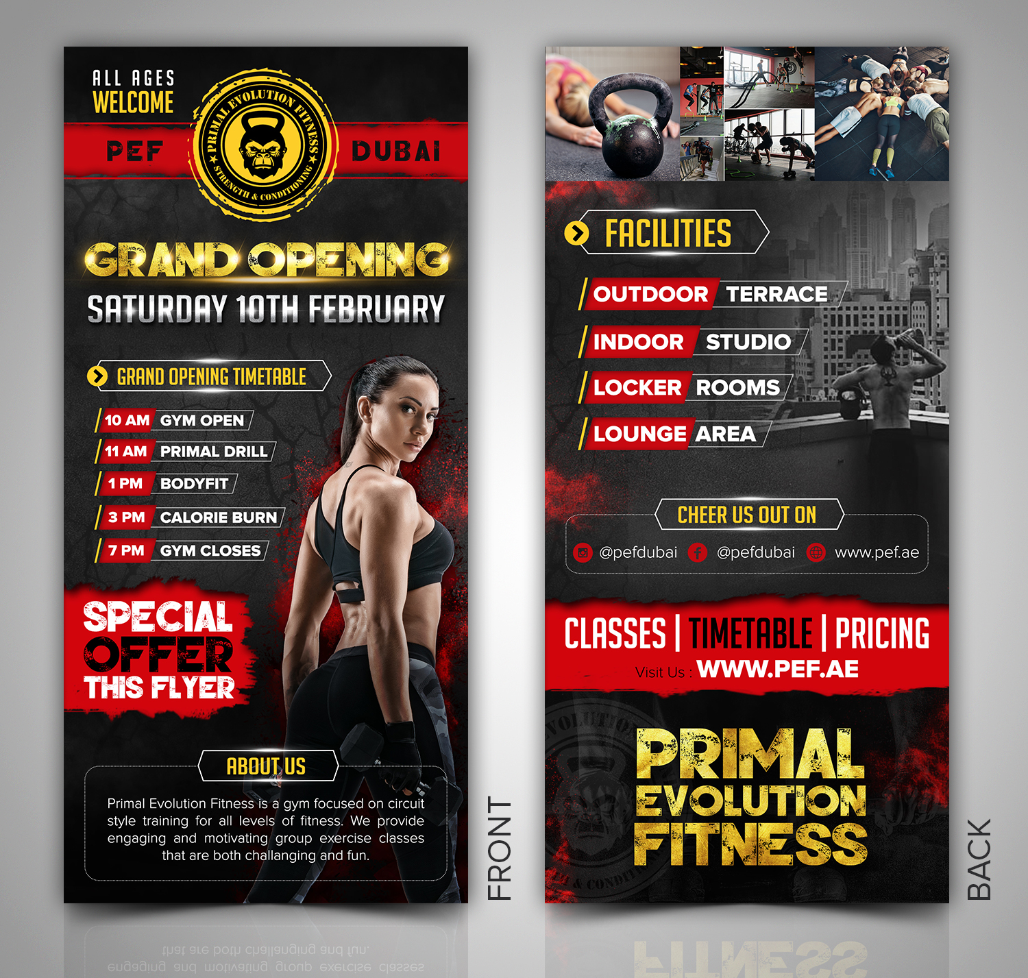elegant playful fitness flyer design for primal evolution fitness