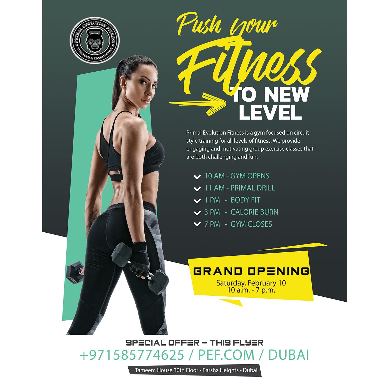 Elegant, Playful, Fitness Flyer Design for Primal Evolution Fitness ...