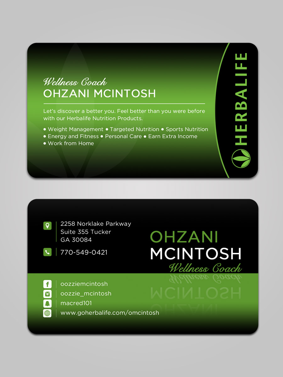 Elegant, Playful Business Card Design for Herbalife Nutrition by ...
