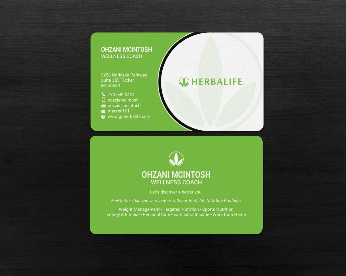 Super Elegant Playful Nutrition Business Card Design For Herbalife FL02