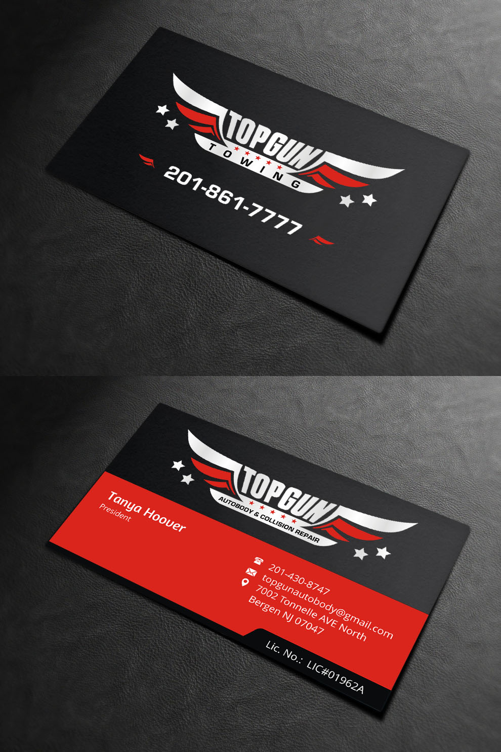 Bold, Serious, Business Business Card Design for topgun autobody and ...