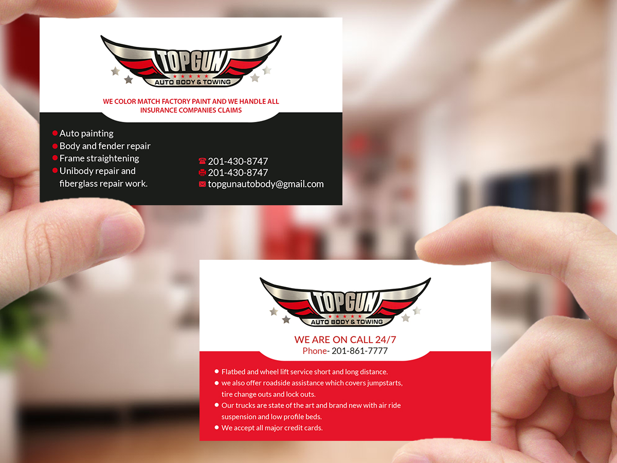 Bold, Serious Business Card Design for topgun autobody and towing by ...